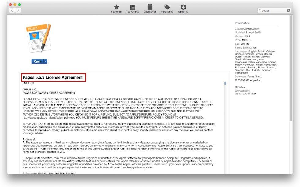 Apple Pages on App Store: EULA is embedded