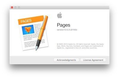 Apple Pages: License Agreement button shown