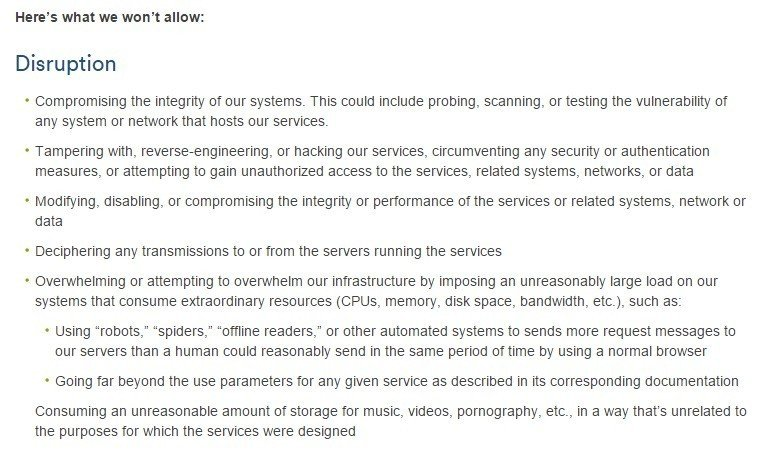 Screenshot of Atlassian Acceptable Use Policy