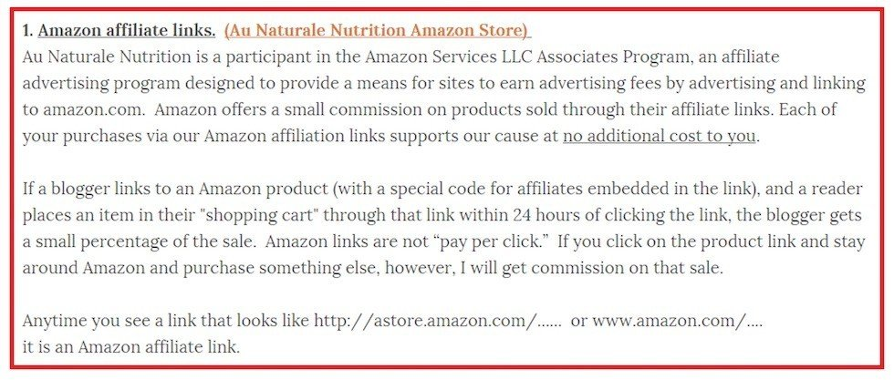 Au Naturale Nutrition: Disclosure of Amazon Affiliate Links