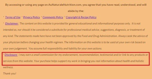 Screenshot of Au Naturale Nutrition website footer
