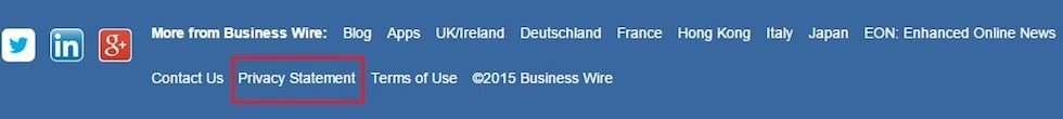 Footer from BusinessWire Website
