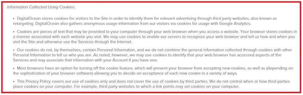Digital Ocean: Information Collected Using Cookies clause
