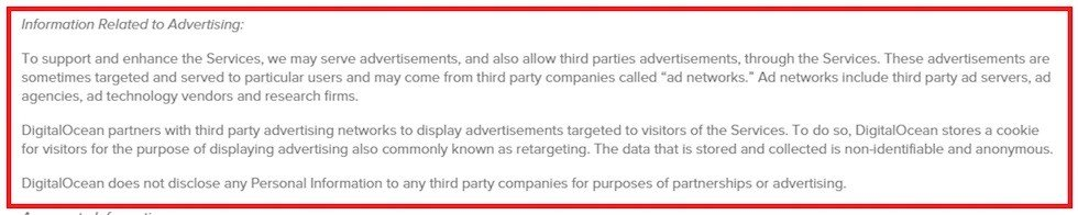 Digital Ocean: Information Related to Advertising clause