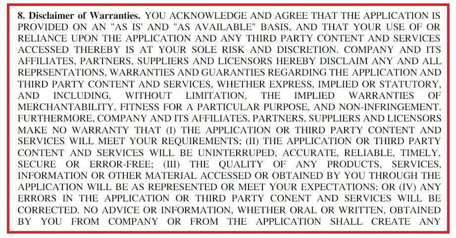 Example of Disclaimer of Warranties in EULAs