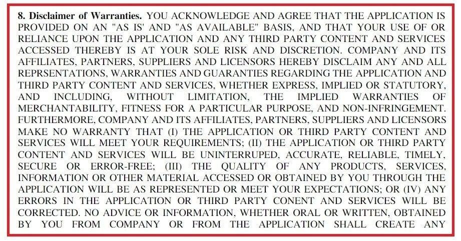 Example of Disclaimer of Warranties in EULAs