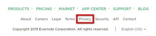 Evernote Website Footer Highlight Privacy Policy Link