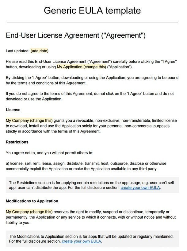 Sample eula template termsfeed for Royalty free license agreement template