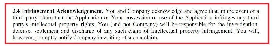 Example of Infringement Acknowledgement Clause