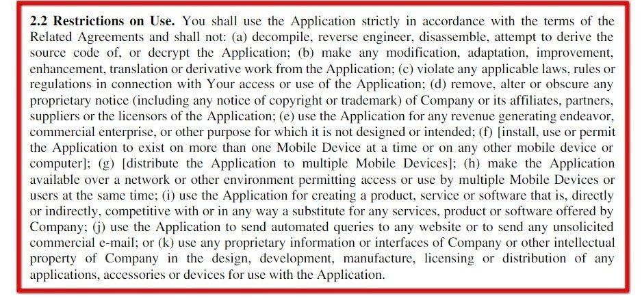Example of Restrictions on Use Clause