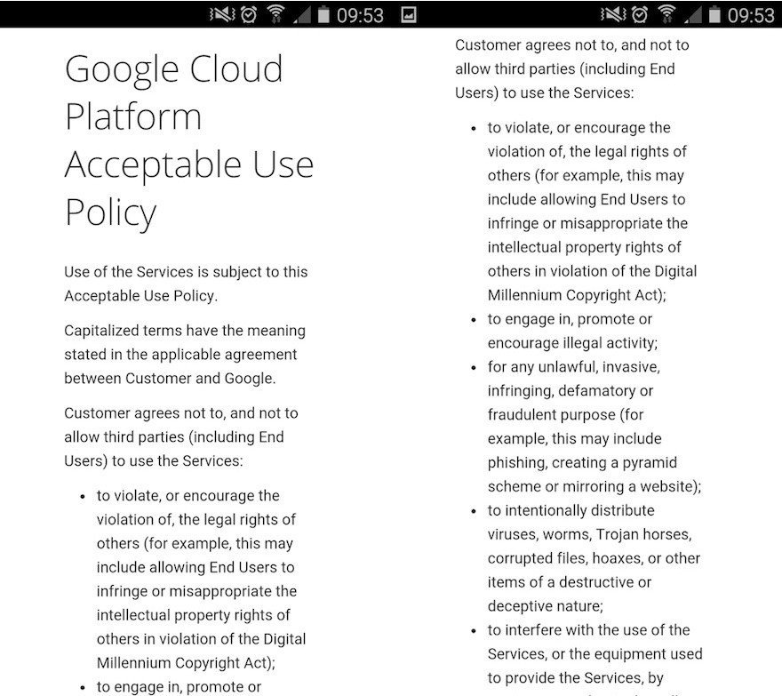 Screenshot of Google Cloud Platform Acceptable Use Policy