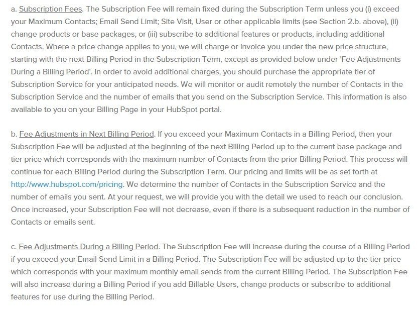 Subscription Fees from HubSpot Terms of Use