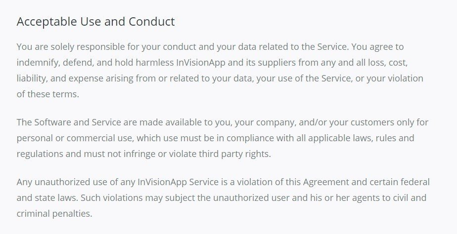 Acceptable Use from InVision Terms of Service