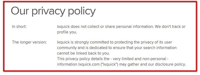 Screenshot of ixquick Privacy Policy page