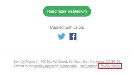 Email newsletter from Medium: Highlight link