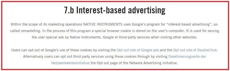 Native Instruments: Example of Interest-based advertising clause