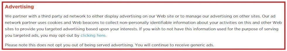 New Relic: Example of Advertising Clause
