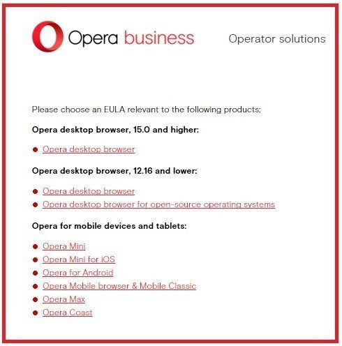 Opera Software: Choose EULA to read