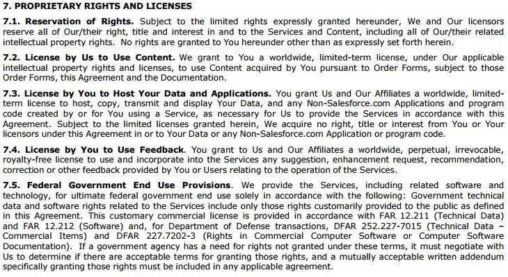 Salesforce Master Subscription Agreement: Proprietary Rights Clause
