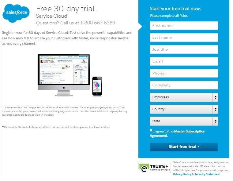Registration form from SalesForce
