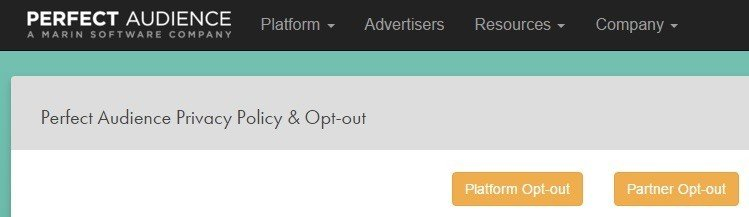 Screenshot of Perfect Audience Opt-out highlights