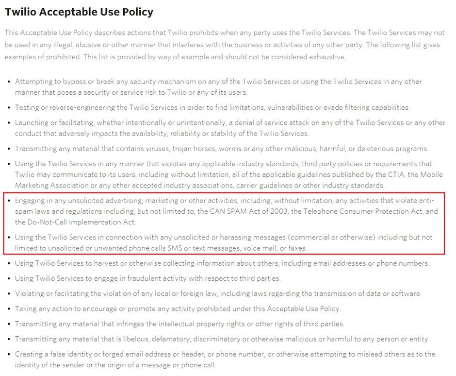 Screenshot of Twilio Acceptable Use Policy