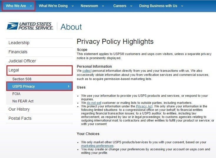 Steps to reach USPS Privacy Highlights page