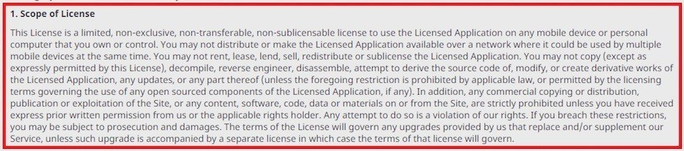 EULA of Viber app: Scope of License clause