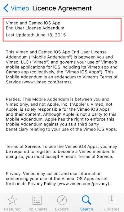 Vimeo iOS App: EULA is embedded