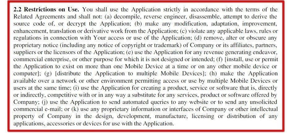 EULA of Vimeo app: Restrictions on Use clause