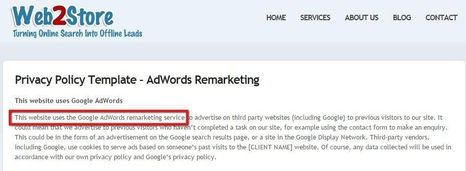 web2store disclose using google adwords