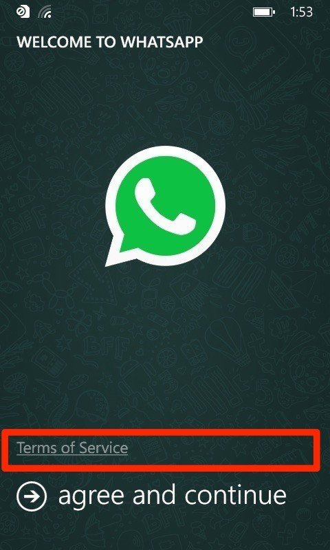 WhatsApp Windows Phone: Agree and Continue screen