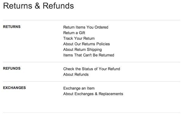 screenshot of amazon return and refunds page