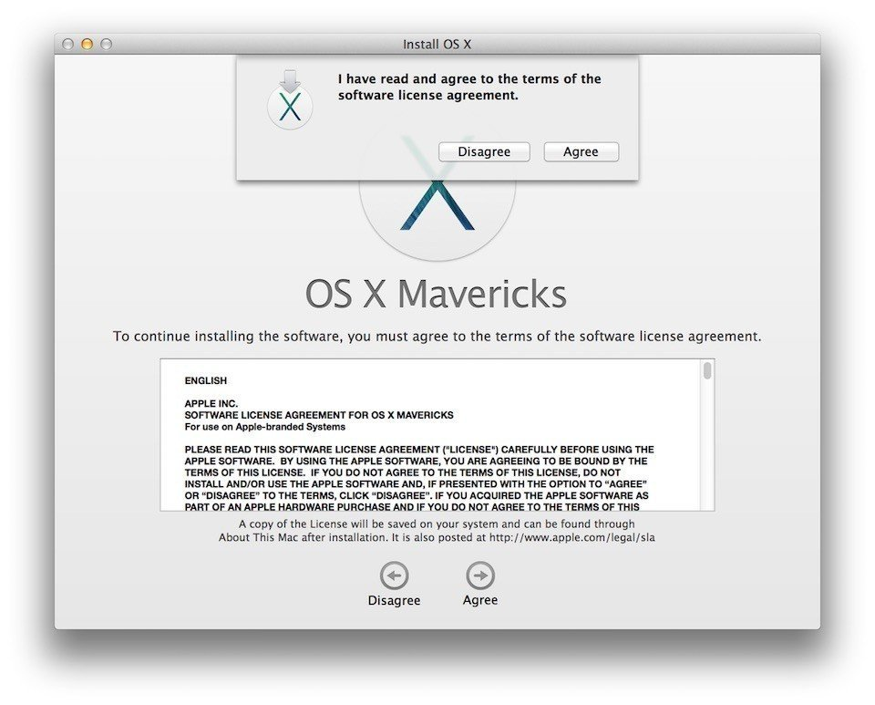 Apple OS X Mavericks: I have read and agree to the terms