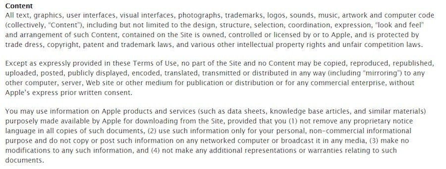 Terms of Apple Store: Intellectual Property Clause