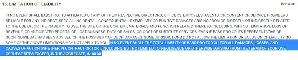 Limitation of Liability clause from Boss Pro