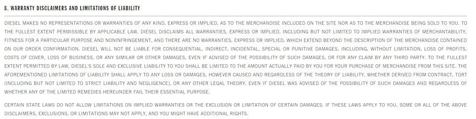 Diesel Terms of Sale: Warranty Disclaimer Clause