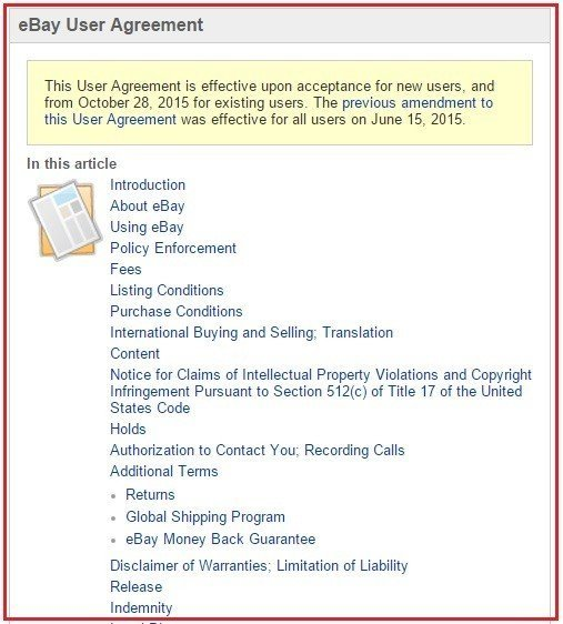 Table of Contents of eBay User Agreement