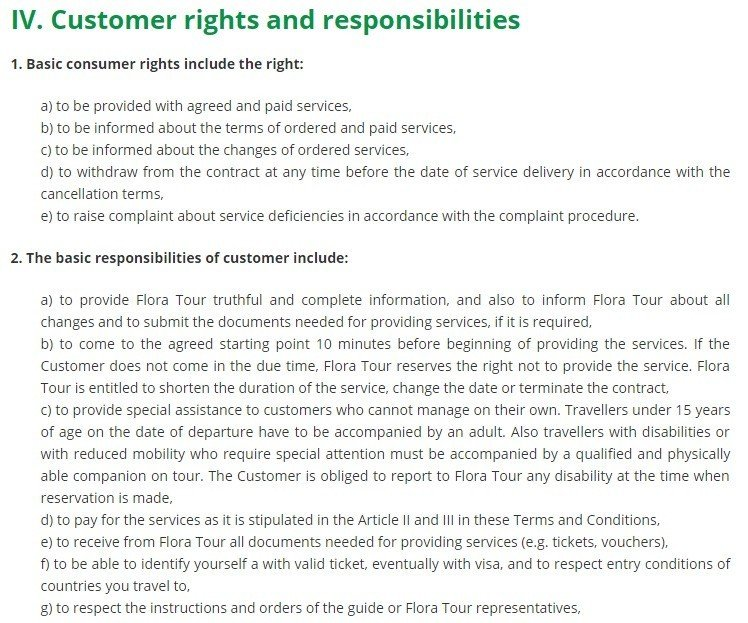 Flora Tour Terms and Conditions: Customer Rights, Responsibilities Clause
