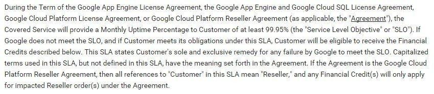 Google Cloud SLA: Performance Expectations