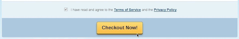 HostGator checkout form: I have read and agree to
