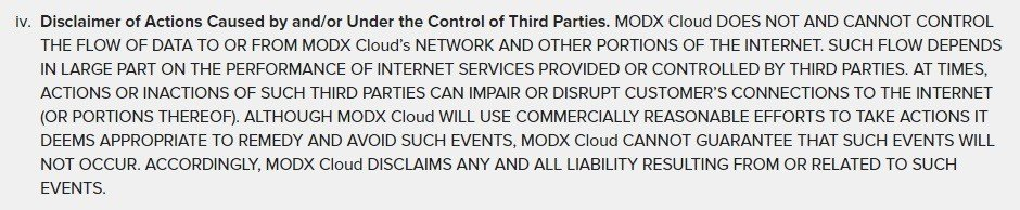 SLA of MODX Cloud: Disclaimer on third parties