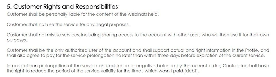 My Own Conference Terms & Conditions: Customer Rights, Responsibilities Clause