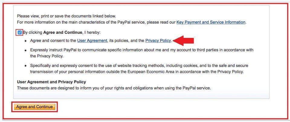 PayPal: Agree and Continue to create Business Account