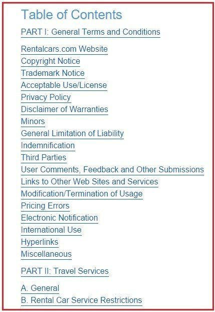 Table of Contents on RentalCars Terms & Conditions