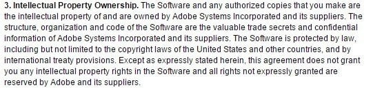 IP clause in Adobe Photoshop CS3 EULA