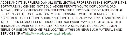Restrictions on IP clause from Adobe Photoshop CS3 EULA