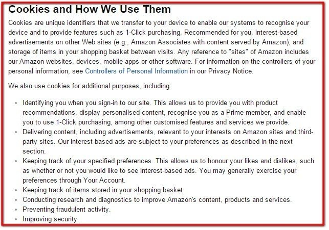 Cookies and How We Use Them in Amazon UK Policy