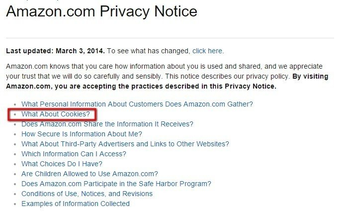 What about cookies? in Amazon US Privacy Notice