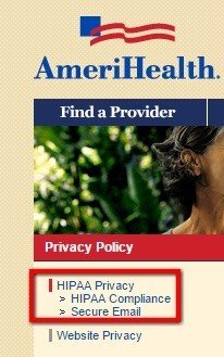Legal links to HIPAA Privacy from AmeriHealth